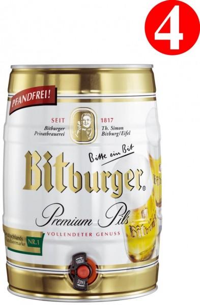 4x Bitburger Premium Pils 5 Liter Partyfass 4,8% vol