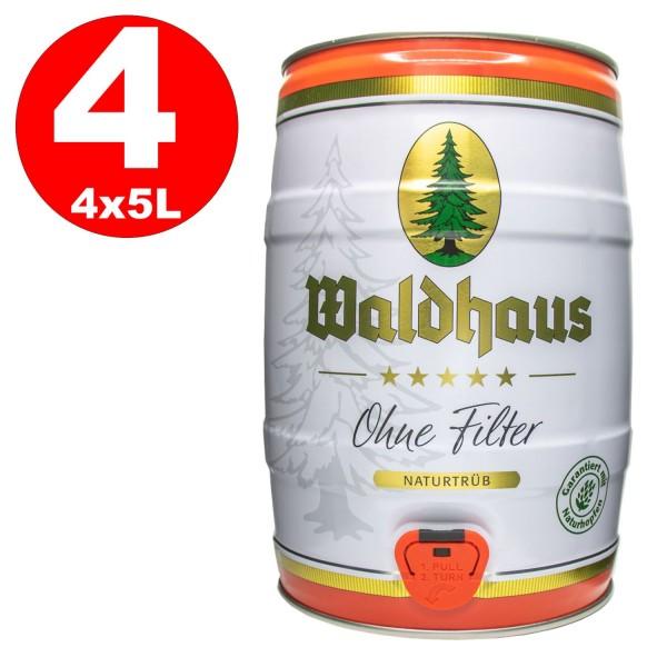 4 x Waldhaus ohne Filter Naturtrüb 5 L Partyfass 5,6 % vol. Das Männerbier