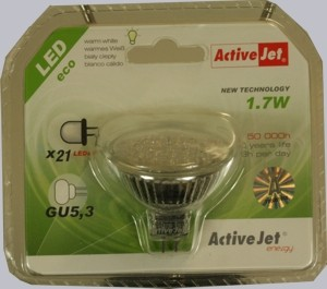 ActiveJet Energiesparlampe warm white 1.7W GU 5,3