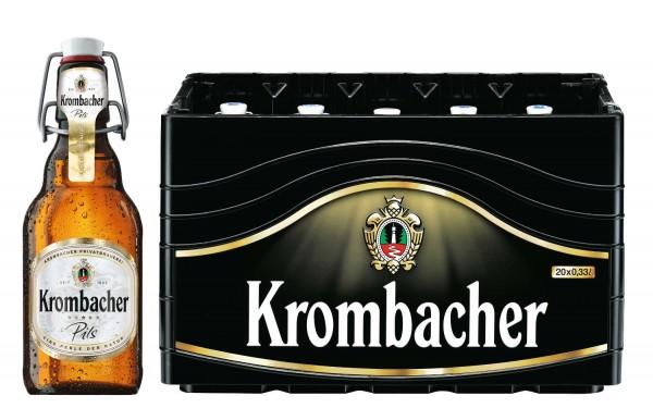 20 x Krombacher Pils 0,33l, Bügelflasche 4,8 % vol Originalkiste MEHRWEG REDUZIERT MHD: 10/19
