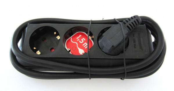 Brennenstuhl 3 Fach Steckdosen leisten 1,5m Schwarz Eco-Line