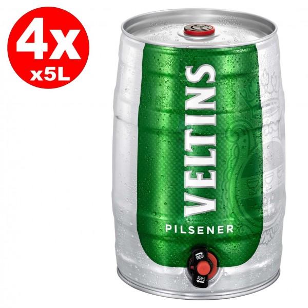 4 x Veltins Pilsener 5 Liter Partyfass 4,8% vol.