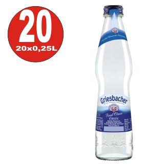 20 x Griesbacher Mineralwasser 0,25L First Class Glas Flasche in Originalkiste MEHRWEG