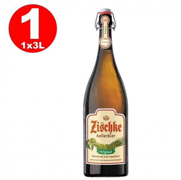 1 x Zischke Kellerbier Original 3 Liter! Bügel-Flasche ungefiltert 4,8% vol MEHRWEG