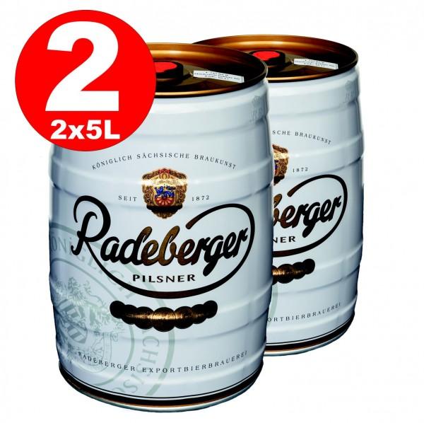 2 x Radeberger Pilsener 5 Liter Partyfass 4,8% vol - EINWEG
