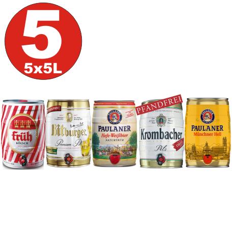 5x5 Liter Fässer Bier No:2- Krombacher, Paulaner Hefe, Münch. hell, Früh Kölsch, Bitburger 4,8 -5%