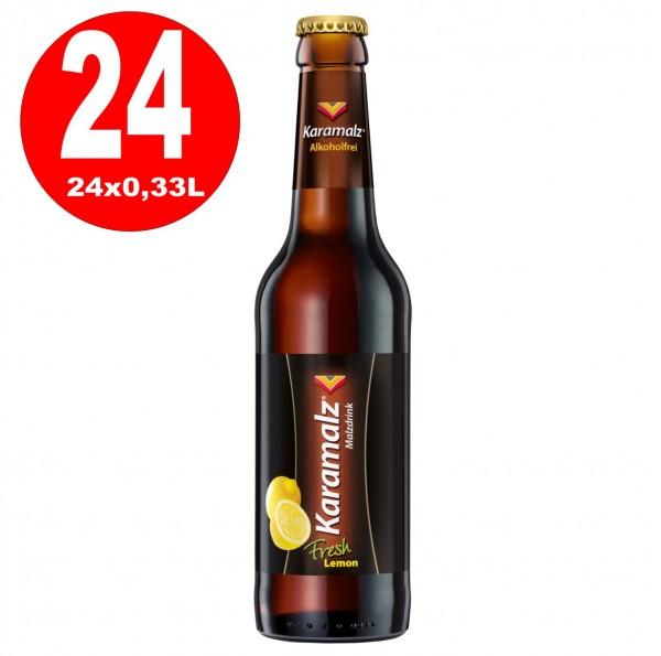 Karamalz fresh lemon Malzdrink - Alkoholfrei 24x0,33l - Originalkiste MEHRWEG