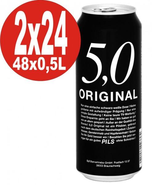 5.0 Original Pils 2 x 24x0,5L Dosen 5% Vol Günstiges Dosenbier_EINWEG