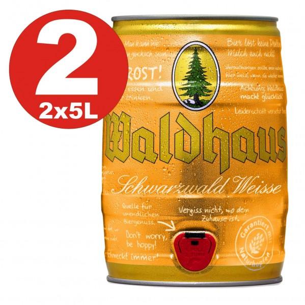 2 x Waldhaus Schwarzwald Weisse Hefe-Weizen 5 L Partyfass 5,6 % vol