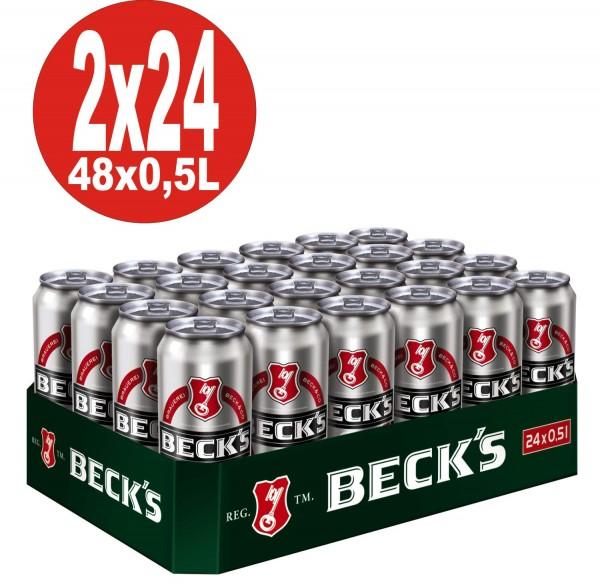 2 x Becks Pils 24x0,5L = 48 Dosen 4,9% Vol.alc._EINWEG