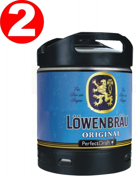 2 x Löwenbräu Original Perfect Draft 6 Liter Fass 5,2 % vol MEHRWEG