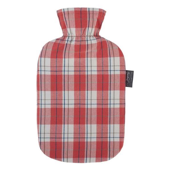 fashy 6536_47 Wärmflasche mit Baumwollbezug im Karodesign, Koralle 2 Liter