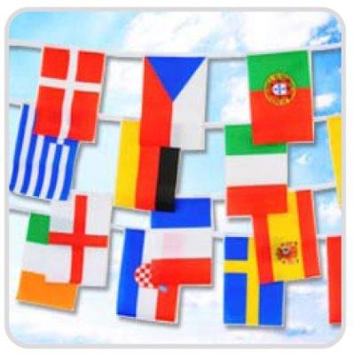 Flaggenkette Europa 16 Länder EM2012 , 8,9 Meter