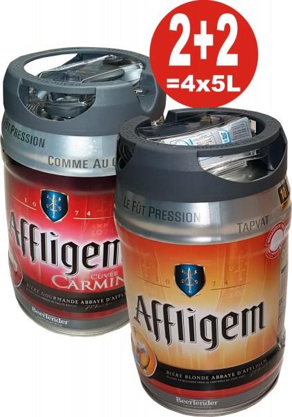 2 x Affligem blonde 2 x Affligem Cuvée Carmine 5 Liter Partyfass inkl. Zapfhahn