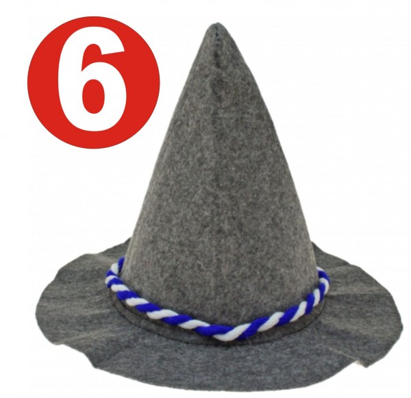 6 x Seppelhut grauer schwerer Filz mit blau/weiss-Kordel für Oktoberfest 33 cm
