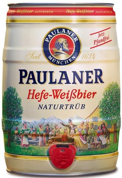 4 x Paulaner Hefe-Weissbier Naturtrüb 5,5 % vol 5 Liter Partyfass EINWEG