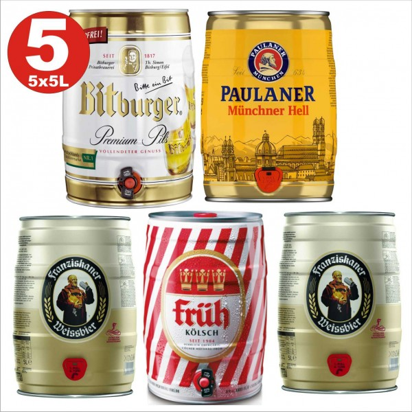 5x5 Liter Fässer Bier No:1- 2x Franziskaner, Münchner hell, Früh Kölsch, Bitburger 4,8 -5% vol.