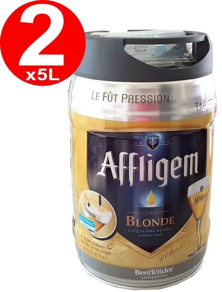 2 x Affligem blonde Partyfass 5 Liter Fass inkl. Zapfhahn 6,8% vol.