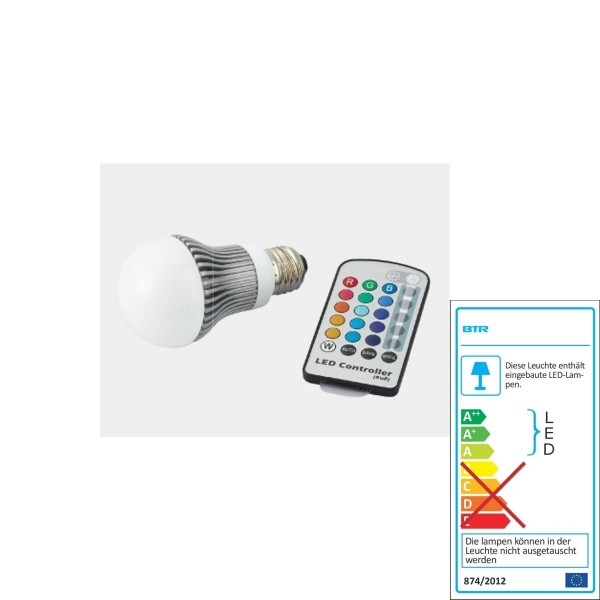 Betterlighting - Leuchtmittel LEDx4 - BT0124 - A60 RGB Farbwechsel mit Fernsteuerung