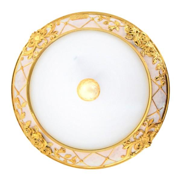 Stolte Wand- und Deckenleuchte Klassik Rosa gold Schirm: Glas weiß satiniert Chassis: Metall glitzer