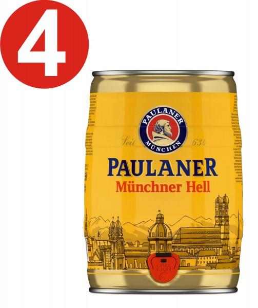 4 x Paulaner Münchner Hell 5 Liter 4,9% vol Partyfass EINWEG