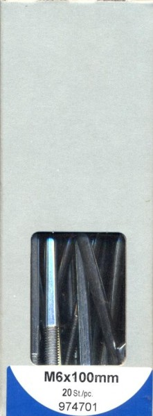20 Stück Schloßschrauben mit Muttern M6x100mm