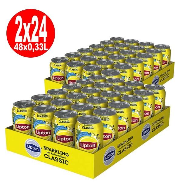 2 x Lipton Sparkling Classic Eistee 24 x 0,33L Dose Einweg