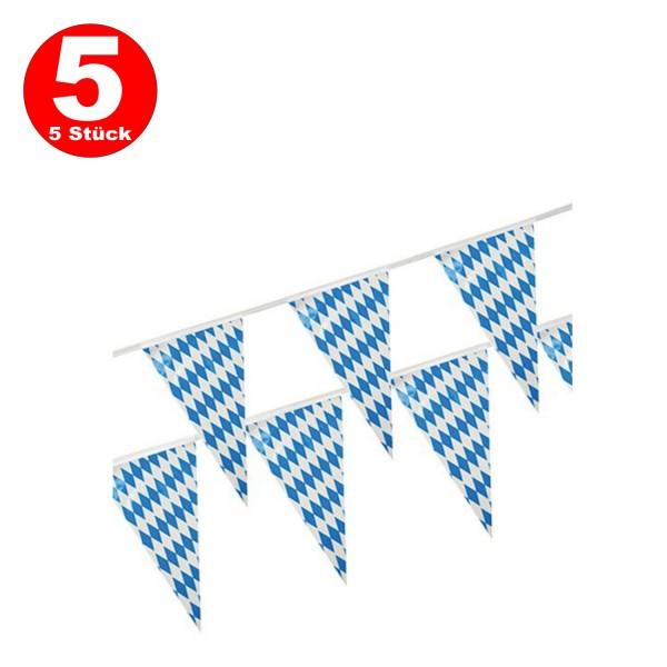 5 x 10-m-Kunststoff Wimpelkette Bayern 10 Meter lang wetterfest