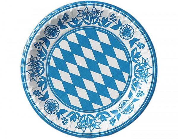 10 Stück Duni Bayern Papp-Teller mit Bayerraute 22 cm