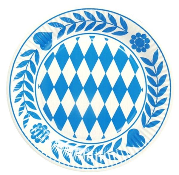 10 Stück Bayern Teller, Pappe rund Durchmesser 23 cm Bayrisch Blau