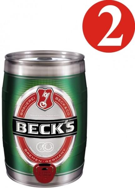 2x Becks Pils 5 Liter Partyfass 4,9 % vol