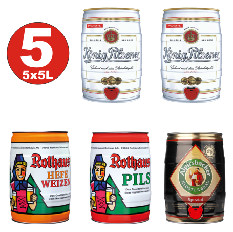 5x5 Liter Fässer Premium Bier 2 x König, Rothaus 1 x Hefe + 1x Pils, 1 x Alpirsbacher 4,9 -5,2 vol