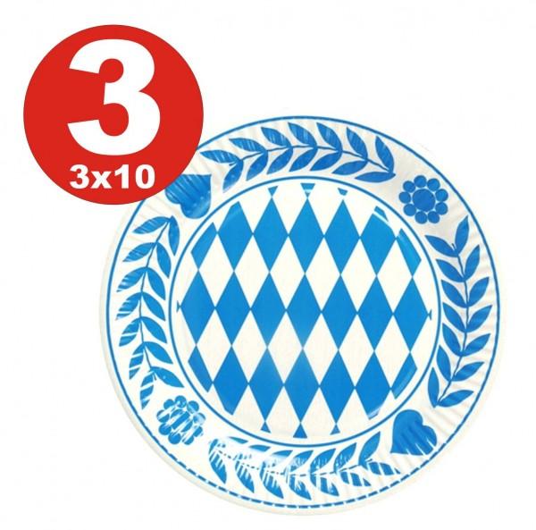 3 x 10 Stück Bayern Teller, Pappe rund Durchmesser 23 cm Bayrisch Blau
