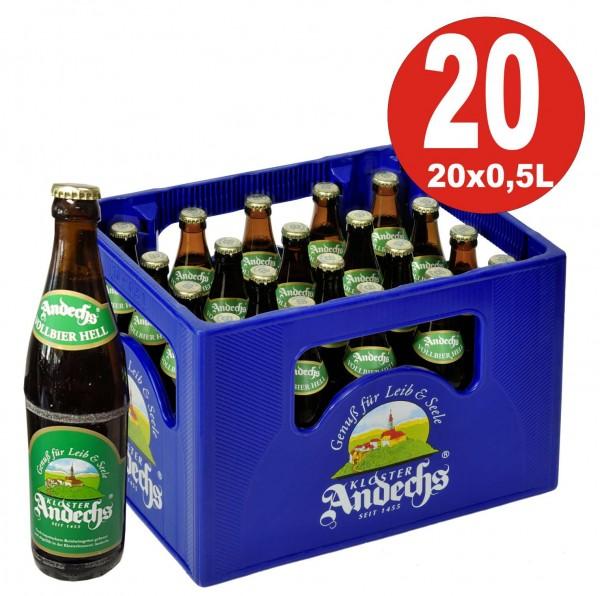20 x Andechser Vollbier hell 0.5l - 4,8% vol. Alkohol Originalkiste MEHRWEG