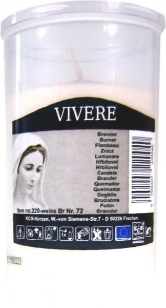 Vivere - Brenner Kerze Nr.72 weiß