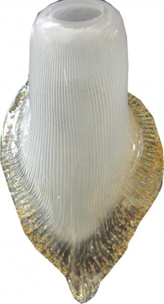 080/ST - Ersatzglas für Lampex Stehlampe Blütenform milchiges Glas Goldfarbiger rand