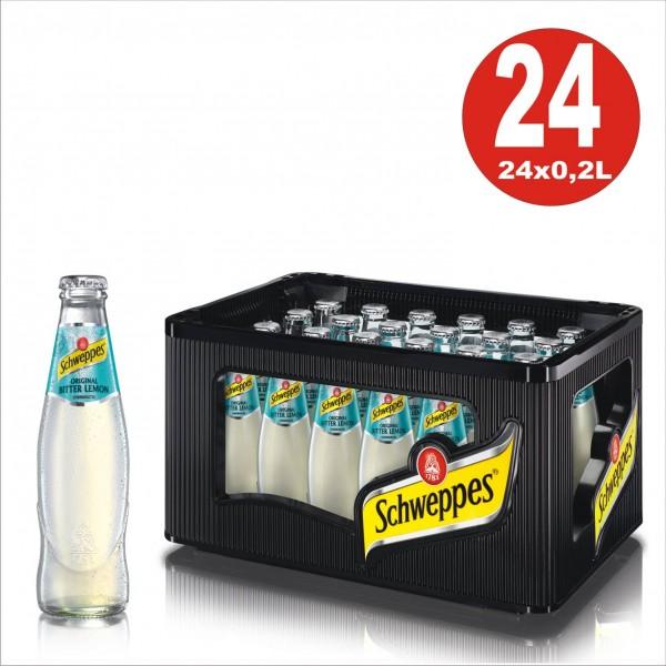 24 x Schweppes Original Bitterlemon 0,2L Glasflasche L Originalkiste MEHRWEG