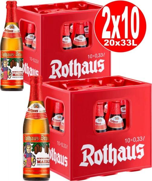 20 x Rothaus Schwarzwald Maidle 0,33L 5,1% vol. 2 x 10er Originalkiste MEHRWEG