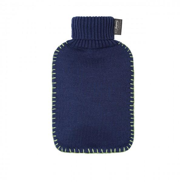 fashy 6715_57 Wärmflasche mit Rollkragen-Strickbezug, marine - 2 Liter