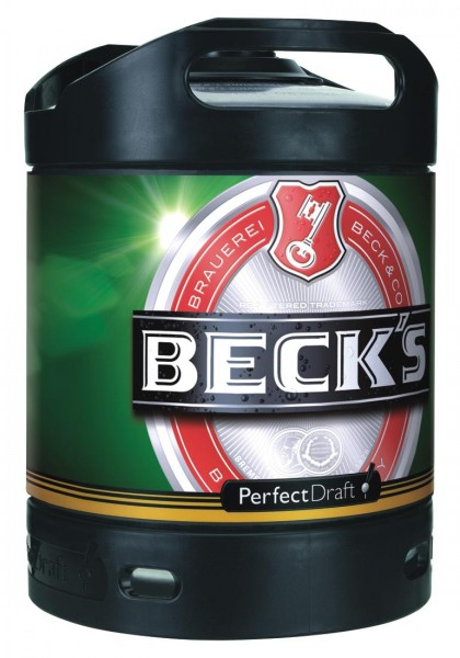 4x Becks Pils Perfect Draft 6 Liter Fass 4,9 % vol MEHRWEG