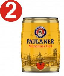 2 x Paulaner Münchner Hell 5 Liter 4,9% vol Partyfass