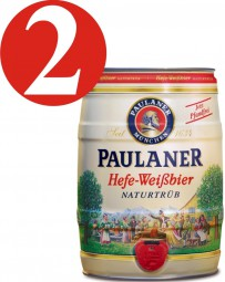 2 x Paulaner Hefe-Weissbier Naturtrüb 5,5 % vol 5 Liter Partyfass